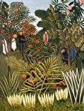 Kunstdruck/Poster: Henri J.F. Rousseau Exotische Landschaft mit Affen und Einem Papagei - hochwertiger Druck, Bild, Kunstposter, 65x85 cm