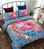 Imperial Rooms Bettwäsche-Set, Bettdeckenbezug und zwei Kissenbezüge, Superweiche T300-Polyester-Baumwoll-Mischung–Bohemian-Stil, Marokkanisches Design, Boho-Motiv, exotisches, ethnisches Design, Spirit, Doppelbett