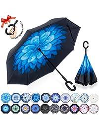 ZOMAKE Paraguas Invertido con Manos en Forma de C Mango, con Diseño de Doble Capa para Antiviento, Paraguas Inversa for Mujer y Hombre,…