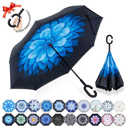 Parapluie Inversé,Parapluie Canne,Double Couche Coupe-Vent, Mains Libres poignée en forme C, Idéal pour Voiture et Voyage (Marguerite bleue)
