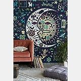 Vertikales Wandteppich indisch, Alumuk Wandtuch Indian Mandala mit psychedelic Hippie Stil, mehrfarbige Tapisserie Wandbehang aus Baumwolle (Mond und Sonne, 203 x 153 cm)