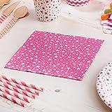 Premium Weddings Papierservietten Stars pink 16 Stück - Hochzeitsservietten Hochzeit Servietten Kindergeburtstag Sterne pink 33 x 33 cm