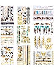 Amaza 10 Planches Tatouages éphémères Métalliques Brillants Tattoo Temporaire Doré Argentés (Multicolore)