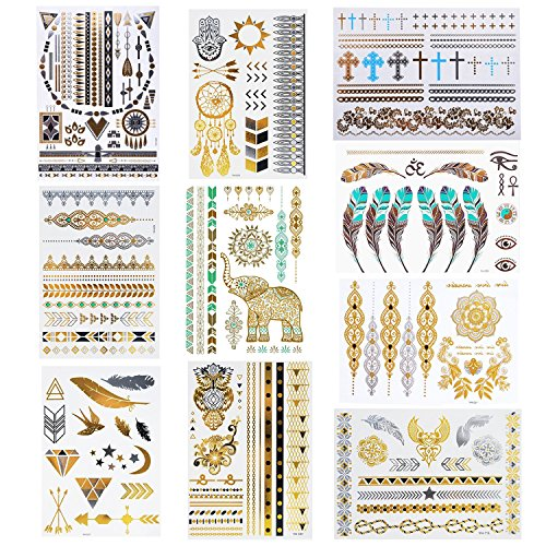 Tattoos 10 Sheets temporäre tattoos Flash Gold und Silber (Mehrfarbig) (Hand Halloween-make-up)