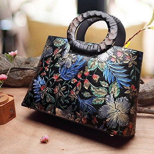 Sacchetto Di Cuoio Handmade Di Cuoio Classico Cinese Stile Modello Di Incisione Del Fiore Di Pianta Magnolia