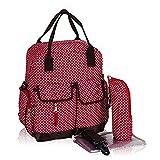 Fieans 3 in 1 Multi-Funktions Groesse Babybag Kindertasche Diaper Bag Changing Bag Pflegetasche Mama Rucksack + Baby Change Pad + Flasche Taschen-Rot Polkadot