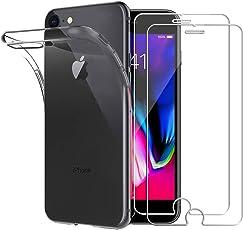 Yoowei Cover iPhone 7/iPhone 8 Trasparente + [2-Pack Pellicola Protettiva in Vetro Temperato], Molle di TPU Silicone Ultra Sottile Antigraffio Antiurto Custodia iPhone 8 / iPhone 7
