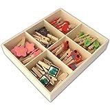 LWR CRAFTS Mini pinces à linge en bois 6 styles 48 pièces en boîte