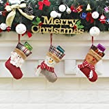 Anself 3pcs/Set Christmas Hanging Stockings Santa Snowman Reindeer Gift Candy Bags Christmas Decoartions Ornaments