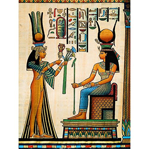 Pitaara Box Egyptian Queen Nefertari Making An Offering to Isis D2 Canvas Painting MDF Frame 14 X 18.6Inch (Queen-size-split-box)