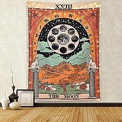 Amknn Tarot Tapiz de Pared, diseño de la Luna, la Estrella y el Sol, Tapiz Medieval, para decoración de recámara, hogar, Moon Tapestry, 150 x 200c m