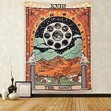 Amknn - Arazzo da Parete con Tarocchi e Luna, la Stella e Il Sole, Stile Medievale Europeo, Decorazione da Parete misteriosa per Camera da Letto, Moon Tapestry, 150cmx130cm