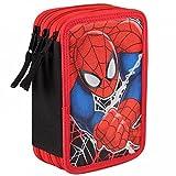 DISNEY Spiderman - Astuccio Triplo completo con Colori, Pennarelli ed Accessori Scuola