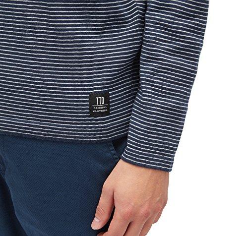 TOM TAILOR Denim Herren Pullover Different Striped Crewneck White