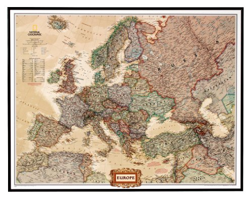 national-geographic-pinboard-political-map-of-europe-executive-style-brown-aluminium-frame