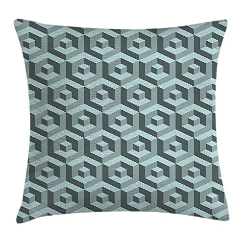 Digital Photo Cube (ZTLKFL Modern Throw Pillow Cushion Cover, Maze Style Digital Dimension Cube Abstract Futuristic Continuous Lines Artsy Graphic, Decorative Square Accent Pillow Case, 18 X 18 inches, Slate Blue)