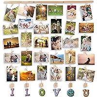 MOVEONSTEP Marcos para Fotos Multi Love Marco de Pared de Madera Decoracion Cuadros para Colgar Fotos 32 Clips