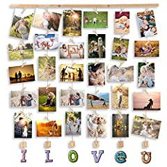 Idea Regalo - MOVEONSTEP Cornice Portafoto Multiple da Parete Cornici Foto Love per Appendere Foto Wall Decor Appese e 32 Clip (82 * 75 CM)