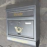 Großer Briefkasten / Postkasten Silber mit Zeitungsrolle Runddach Zeitungsfach