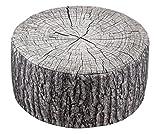 Brandsseller Pouf extérieur avec imprimé déco Tronc d'arbre | Pouf Gonflable pour intérieur et extérieur - Dimensions : 55 x 25 cm - Couloris : Gris