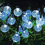 iRegro 2016 Más Reciente solar al aire libre luces de cadena Globo, Luz Led con 30 LED blanco bolas de cristal para la decoración (Azul)