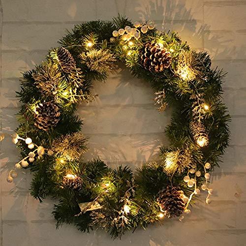 Weihnachtskranz mit 20 LEDs Girlande Tannengirlande Haustür Herbtkranz DIY Girlande Künstlich Türkranz Deko 45cm für Weihnachten Party