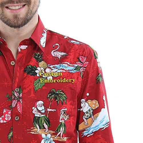 Hawaii-Hangover-manga-larga-de-encargo-del-bordado-de-los-hombres-encaja-una-camisa-roja-pequea