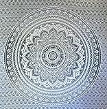 Grau Ombre Tapestry von JaipurHandloom'Mandala-Tapisserie, Königin, Multi Color Indian Mandala-Wand-Kunst, Hippie Wandbehang, Bohemian Bedspread