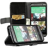 EasyAcc® Hülle Taschen Wallet Case Schutzhülle für HTC One M8 (2014 Edition) hülle Tasche mit standfunktion Card Holder Display-Klappe zubehör (Schwarz, PU Leder)