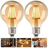 DASIAUTOEM Ampoule LED E27, Lot de 6 Dimmable Lampe Edison Vintage LED G80 4w Ampoule LED Globe E27 Rétro Lampe Décorative Bl