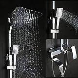 Bad Dusche Wasserhahn Set Badewanne Armaturen Dusche Mischbatterie Badewanne Duscharmatur Wasserfall Duschkopf Siver E