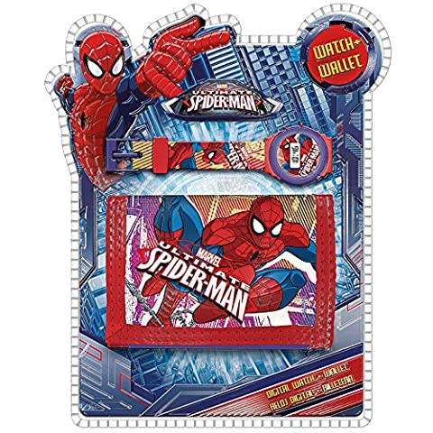 Spiderman MV15218 Set Montre Numérique, Portefeuille, Enfant, Multicolore