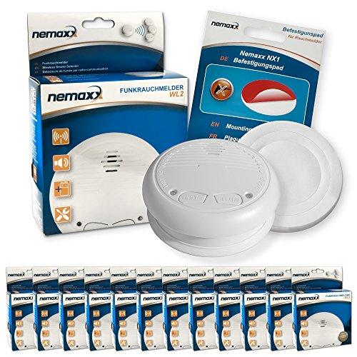 12x Nemaxx WL2 Funkrauchmelder Rauchmelder Brandmelder Set Funk koppelbar vernetzt - nach EN 14604 +...