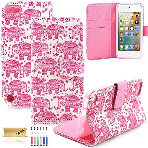 iPod Touch 5/6Fall, dteck (TM) Süßes PU-Leder Ständer Wallet Magnet Case [Karten/Geld Halter] Flip Zusammenklappbar für Apple iPod Touch 5. 6. Gen 10,2cm, 3 Pink Elephant
