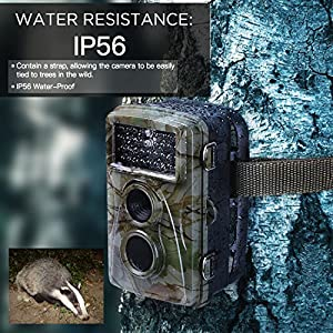 Trail Camera 1080P 12MP HD Wildlife Waterproof Camera 65ft Infrared Night Vision Wide Angle Hunting Mini Game Camera with IR LEDs for Outdoor Nature, Garden, Home Security Surveillance