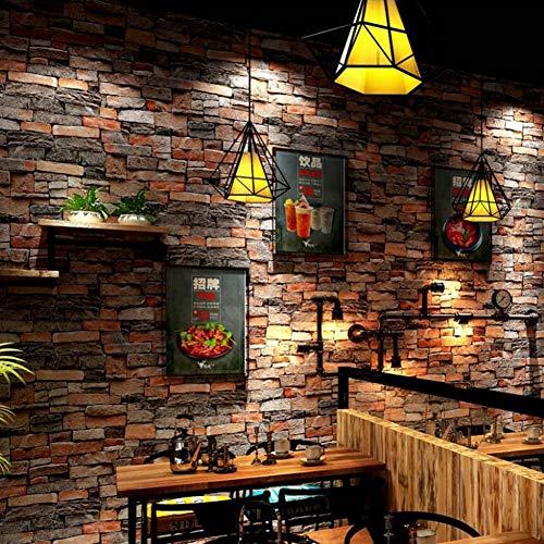 Wallpaper FANGQIAO SHOP Tapete, 3D Dreidimensionale Retro Simulation Stein Ziegelstein Muster PVC wasserdichte Tapete Cafe Restaurant Antike Ziegelstein Kultur Tapete (Farbe : 2)
