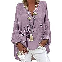 Mscomft Camicia da donna oversize in lino, a maniche lunghe, casual, stampata, con scollo a V, in cotone, taglie grandi