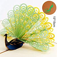 JMcall® 3D Pop Up Peacock Cards Wedding Lover Happy Birthday Anniversary Greeting Card D(Multicolor)
