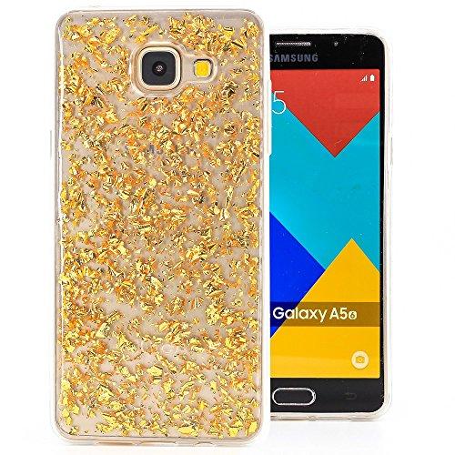 COOVY® Custodia per Samsung Galaxy A5 SM-A510 / SM-A510F (Model 2016) Sottile, Antiurto, in Silicone TPU, Cover con Scintillante Design Glitterato | Colore Oro