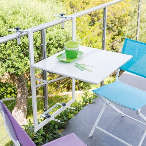 Table de balcon suspendue et rabattable tablette ajustable coloris blanc dirtap - Table suspendue pour balcon ...