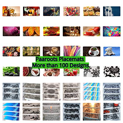 Paaroots PVC Dining Table Kitchen Placemats, (12 x 18), 6 Pieces
