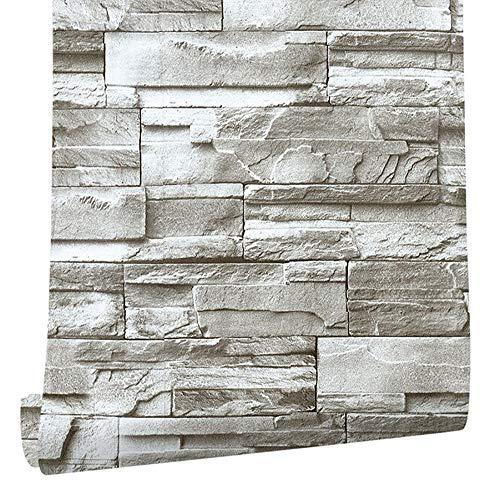 Selbstklebende Faux Brick Stone Wallpaper Roll 3D-Effekt Peel Stick Vintage Home Decoration Landschaft Stil,Claybank -