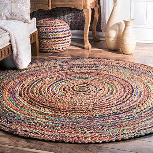 Alfombra de yute de comercio justo hecha a mano, multicolor, india, reciclada, algodón, natural, 150 cms