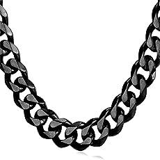 U7 Panzerkette für Männer Herren Edelstahl Halskette Gliederkette HipHop Biker Rocker Kette 3/6/9/12 mm Breit (Länge 46-76cm)