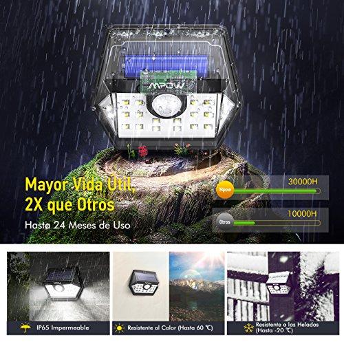 Mpow 20 LED Luz Solar Foco LED Solar Exterior Súper Brillante con Sensor de Movimiento con 1 Mode Lamparas de Jardin Solares Luz Exterior Solar de Pared de Seguridad Accionado Solar Cabeza de Sensor Gran Angular Mejorado de 120° Impermeable para Jardín Garaje Camino de Entrada Camino Patio y Balcón 4 Unidades