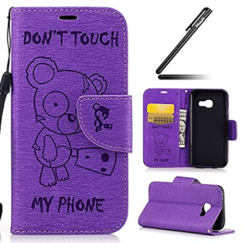 Galaxy A3 2017 Case, Galaxy A3 2017 Cover,Ukayfe [Embossed Cartoon Chainsaw Bear, Don't Touch My Phone] Pattern Premium PU Leather Magnetic Flip Case Cover Pouch Protective Case with Card Slot and Strap For Samsung Galaxy A3 2017 (SM-A320) + 1x Black Stylus , Purple