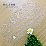 Top-Spring Classic Non-Slip Bath Mat, See-through Shower Mat with Suction Cups, Non-toxic (35*69cm Clear Pebble)