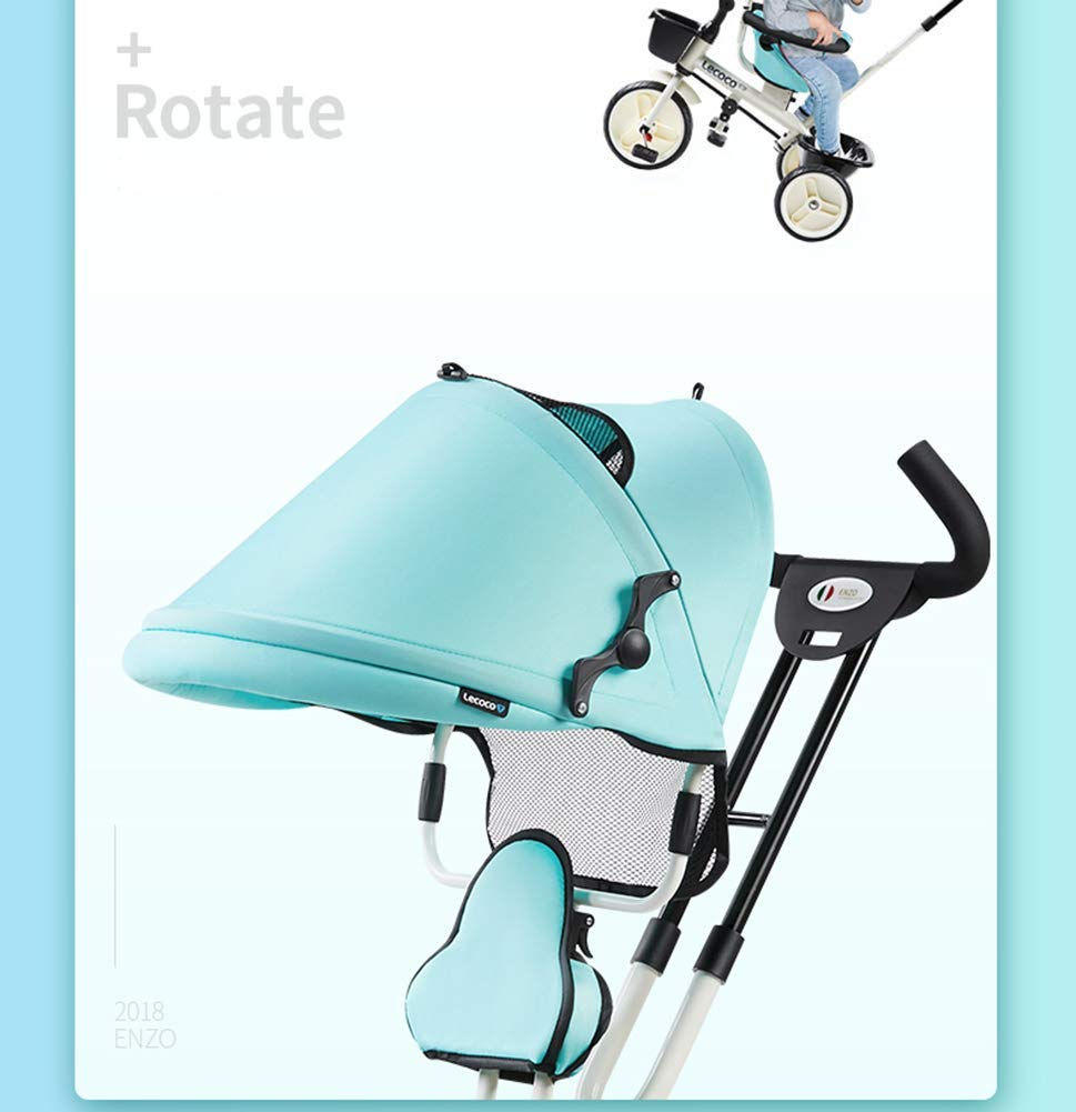 L@LILI Lightweight Children's Tricycle 1-3 Year Old Stroller Trolley Seat Can Be Rotated in Both Directions Multi-Purpose Titanium Wheel Carriage,A  Foldable footrest, adjustable push handle (88-93cm) for different ages Fully enclosed wheel, rear wheel brake, safe and secure Handrail built-in connecting rod, which can control the direction of the car through the armrest 7
