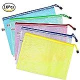 Wskderliner Zipper Tasche Mesh Bag Dokumententasche Reissverschluss a4 Zip Beutel Farbig Plastik Für Bürobedarf Schreibwaren Packung von 10