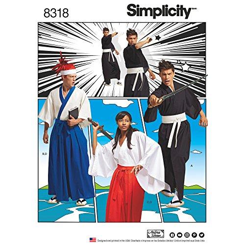 Simplicity Muster Art. 8318A (XS-XL Misses ', Men 'S und Teen 's Kostüme, weiß